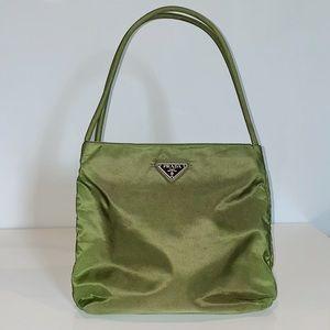 VINTAGE PRADA IRIDESCENT NYLON BAG IN GREEN/BROWN